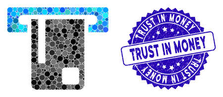 Mosaic bank ATM icon and grunge stamp seal with Trust in Money phrase. Mosaic vector is created with bank ATM icon and with scattered circle items. Trust in Money stamp uses blue color,