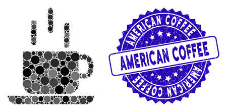 Collage coffee mug icon and corroded stamp seal with American Coffee caption. Mosaic vector is created with coffee mug icon and with random spheric elements.