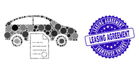 Mosaic car sale contract icon and distressed stamp seal with Leasing Agreement text. Mosaic vector is composed with car sale contract icon and with random spheric items. Standard-Bild - 137889346