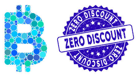 Mosaic Bitcoin letter icon and rubber stamp seal with Zero Discount text. Mosaic vector is designed with Bitcoin letter icon and with random circle spots. Zero Discount stamp seal uses blue color, Çizim