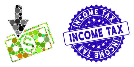 Mosaic income icon and grunge stamp watermark with Income Tax text. Mosaic vector is designed with income icon and with random circle spots. Income Tax stamp uses blue color, and dirty surface. Standard-Bild - 137889348