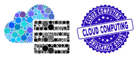Mosaic cloud computing icon and corroded stamp watermark with Cloud Computing caption. Mosaic vector is created with cloud computing icon and with randomized spheric items.