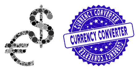 Collage currency icon and rubber stamp seal with Currency Converter caption. Mosaic vector is composed with currency icon and with random spheric items. Currency Converter stamp uses blue color,