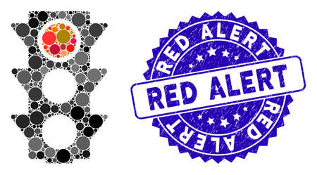 Mosaic red traffic lights icon and rubber stamp watermark with Red Alert phrase. Mosaic vector is composed from red traffic lights icon and with random round elements. Red Alert stamp uses blue color, Standard-Bild - 137889352