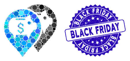 Mosaic bank map pointers icon and grunge stamp watermark with Black Friday caption. Mosaic vector is composed from bank map pointers icon and with random spheric elements.