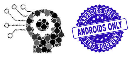 Mosaic artificial mind icon and distressed stamp seal with Androids Only text. Mosaic vector is designed with artificial mind pictogram and with random circle spots. Standard-Bild - 137889354