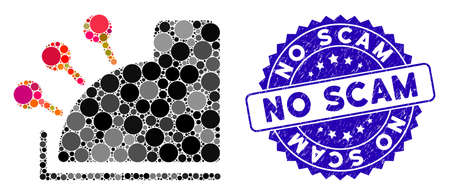 Mosaic cash machine icon and rubber stamp seal with No Scam phrase. Mosaic vector is composed with cash machine pictogram and with random circle items. No Scam stamp seal uses blue color,
