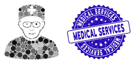 Mosaic medical specialist icon and grunge stamp seal with Medical Services phrase. Mosaic vector is formed from medical specialist icon and with randomized circle elements. Standard-Bild - 137889437