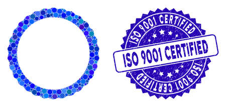 Mosaic certificate rosette circular frame icon and distressed stamp seal with ISO 9001 Certified caption.