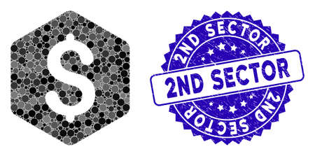 Mosaic dollar hexagon icon and corroded stamp seal with 2Nd Sector caption. Mosaic vector is formed with dollar hexagon icon and with random round elements. 2Nd Sector stamp seal uses blue color,