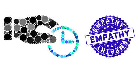 Mosaic clock properties icon and grunge stamp seal with Empathy caption. Mosaic vector is created with clock properties icon and with scattered circle spots. Empathy stamp seal uses blue color, Standard-Bild - 137889764