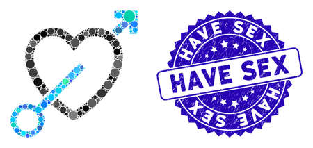Mosaic love arrow icon and rubber stamp seal with Have Sex caption. Mosaic vector is created with love arrow icon and with scattered spheric elements. Have Sex seal uses blue color, Çizim