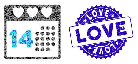Mosaic valentine love day icon and corroded stamp seal with Love caption. Mosaic vector is composed with valentine love day pictogram and with randomized circle spots. Love seal uses blue color,