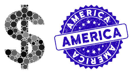Mosaic dollar symbol icon and rubber stamp watermark with America text. Mosaic vector is created with dollar symbol icon and with scattered round spots. America stamp seal uses blue color, Standard-Bild - 137890210