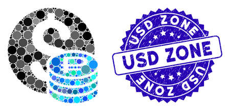 Mosaic dollar and rouble coins icon and distressed stamp watermark with USD Zone phrase. Mosaic vector is designed with dollar and rouble coins icon and with scattered spheric items. Standard-Bild - 137890214