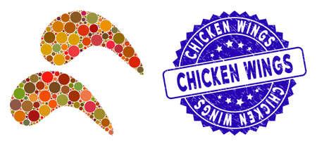 Mosaic chicken wings icon and grunge stamp seal with Chicken Wings phrase. Mosaic vector is designed with chicken wings pictogram and with scattered spheric spots. Çizim