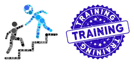 Collage alien training help icon and distressed stamp seal with Training text. Mosaic vector is composed with alien training help icon and with randomized circle spots.