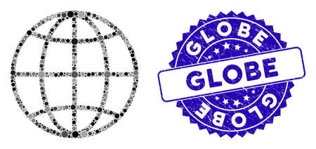 Mosaic globe icon and rubber stamp seal with Globe text. Mosaic vector is created from globe icon and with randomized circle spots. Globe stamp seal uses blue color, and rubber design. Standard-Bild - 137890232