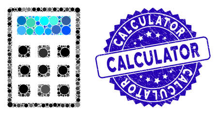Mosaic calculator icon and grunge stamp seal with Calculator phrase. Mosaic vector is composed with calculator icon and with randomized spheric spots. Calculator stamp seal uses blue color, Stock Illustratie
