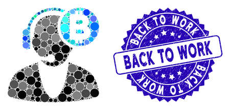 Mosaic Bitcoin operator icon and rubber stamp seal with Back to Work caption. Mosaic vector is created from Bitcoin operator icon and with scattered round spots. Back to Work stamp uses blue color,