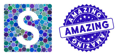 Mosaic finance icon and corroded stamp seal with Amazing phrase. Mosaic vector is composed with finance pictogram and with random circle items. Amazing stamp seal uses blue color, and rubber surface.