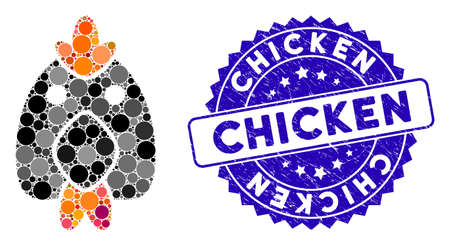 Mosaic chicken icon and rubber stamp seal with Chicken text. Mosaic vector is formed with chicken icon and with randomized spheric spots. Chicken seal uses blue color, and distress texture. Standard-Bild - 137890280