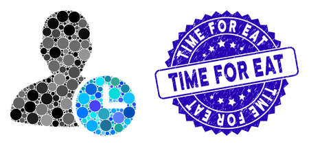 Mosaic time management clock icon and rubber stamp watermark with Time for Eat text. Mosaic vector is created with time management clock icon and with random circle spots.