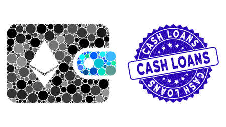 Mosaic Ethereum billfold icon and rubber stamp watermark with Cash Loans phrase. Mosaic vector is formed with Ethereum billfold icon and with random spheric items. Cash Loans stamp uses blue color, Standard-Bild - 137890312