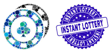 Mosaic casino chips icon and corroded stamp seal with Instant Lottery text. Mosaic vector is created with casino chips icon and with randomized spheric items. Instant Lottery stamp uses blue color, Çizim