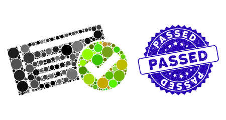 Mosaic passed icon and distressed stamp watermark with Passed caption. Mosaic vector is designed with passed icon and with randomized round spots. Passed stamp seal uses blue color, Standard-Bild - 137890569