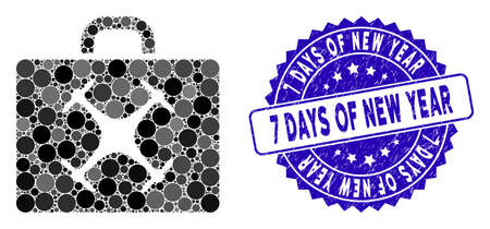 Mosaic drone case icon and distressed stamp watermark with 7 Days of New Year text. Mosaic vector is composed from drone case icon and with randomized spheric elements.