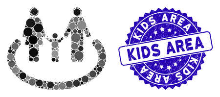Collage family area icon and distressed stamp seal with Kids Area text. Mosaic vector is composed with family area icon and with scattered spheric spots. Kids Area stamp seal uses blue color, Standard-Bild - 137890590
