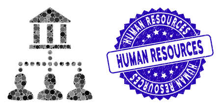 Mosaic bank clients icon and rubber stamp seal with Human Resources phrase. Mosaic vector is formed from bank clients icon and with scattered circle items. Human Resources stamp seal uses blue color,