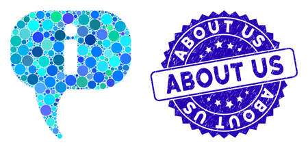Mosaic about icon and distressed stamp seal with About Us caption. Mosaic vector is composed with about pictogram and with random round elements. About Us stamp seal uses blue color,