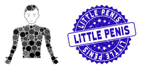 Collage guy body icon and grunge stamp seal with Little Penis caption. Mosaic vector is formed with guy body icon and with random spheric elements. Little Penis stamp seal uses blue color, Çizim