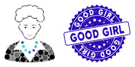 Mosaic blonde lady icon and distressed stamp seal with Good Girl text. Mosaic vector is composed with blonde lady icon and with scattered round elements. Good Girl stamp seal uses blue color,