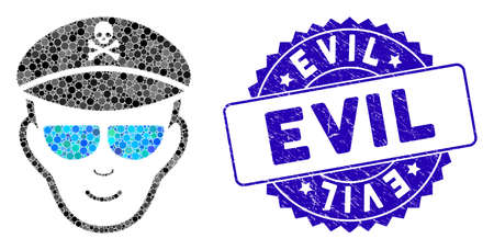 Mosaic evil soldier face icon and rubber stamp seal with Evil phrase. Mosaic vector is designed with evil soldier face icon and with random spheric elements. Evil stamp uses blue color, Vettoriali