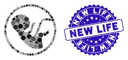 Mosaic human embryo icon and rubber stamp seal with New Life caption. Mosaic vector is composed with human embryo icon and with randomized spheric items. New Life stamp seal uses blue color, Çizim