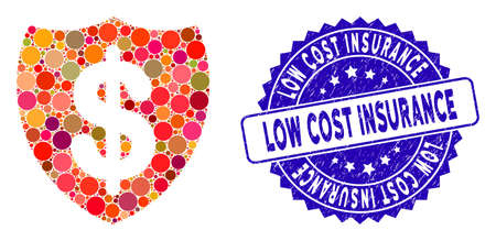 Collage deposit insurance icon and grunge stamp seal with Low Cost Insurance caption. Mosaic vector is designed with deposit insurance icon and with scattered round elements.