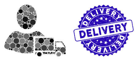 Collage delivery icon and rubber stamp seal with Delivery caption. Mosaic vector is composed with delivery icon and with scattered spheric spots. Delivery stamp seal uses blue color, Çizim