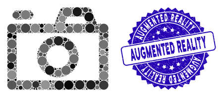 Mosaic camera icon and corroded stamp seal with Augmented Reality caption. Mosaic vector is composed with camera icon and with randomized circle spots. Augmented Reality seal uses blue color,