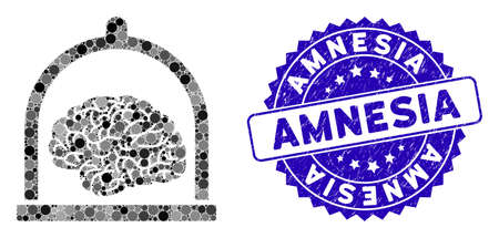 Mosaic brain conservation icon and grunge stamp watermark with Amnesia caption. Mosaic vector is formed with brain conservation icon and with random round spots. Amnesia stamp uses blue color, Çizim