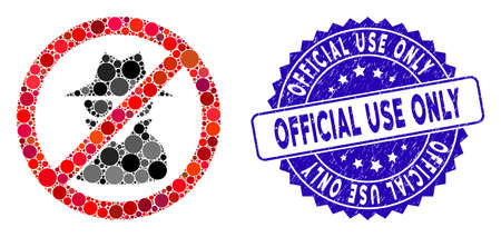 Mosaic no spy icon and rubber stamp seal with Official Use Only phrase. Mosaic vector is created from no spy icon and with random round elements. Official Use Only stamp seal uses blue color,