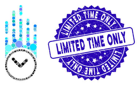Mosaic falling clock icon and rubber stamp watermark with Limited Time Only caption. Mosaic vector is formed with falling clock pictogram and with randomized round elements.