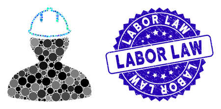 Mosaic person in hardhat icon and rubber stamp seal with Labor Law caption. Mosaic vector is composed with person in hardhat icon and with random spheric spots. Labor Law stamp uses blue color,
