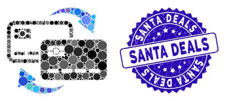 Mosaic bank card exchange icon and grunge stamp watermark with Santa Deals text. Mosaic vector is formed with bank card exchange icon and with random circle items. Santa Deals seal uses blue color,