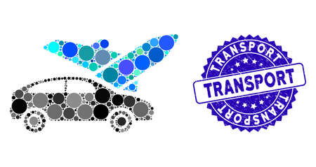 Collage transport icon and corroded stamp seal with Transport phrase. Mosaic vector is formed with transport icon and with randomized round spots. Transport stamp uses blue color,