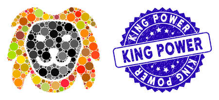 Mosaic lion head icon and grunge stamp watermark with King Power phrase. Mosaic vector is composed with lion head icon and with scattered round spots. King Power stamp uses blue color, Banque d'images - 137891081