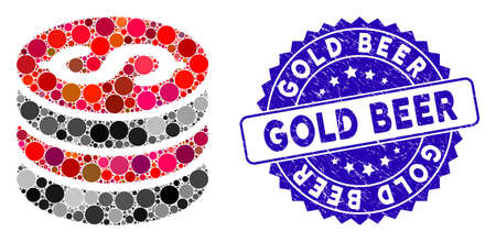 Mosaic dollar coins stack icon and rubber stamp seal with Gold Beer phrase. Mosaic vector is designed with dollar coins stack icon and with randomized round spots. Gold Beer stamp uses blue color, Vetores
