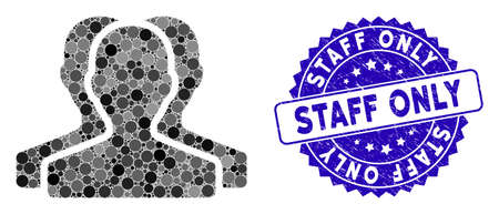 Mosaic customer group icon and rubber stamp seal with Staff Only caption. Mosaic vector is created from customer group icon and with randomized round items. Staff Only stamp seal uses blue color, Çizim